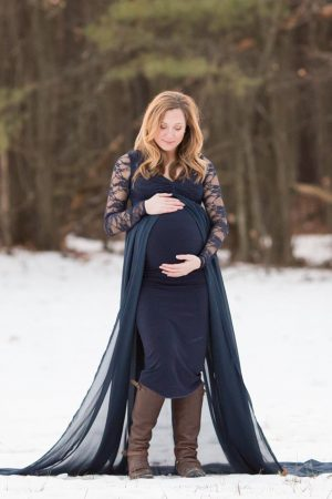Lace Sleeve Maternity Gown
