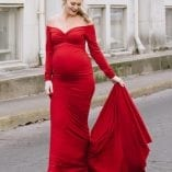 Photoshoot Maternity Gown - Sweetheart Neckline with Train