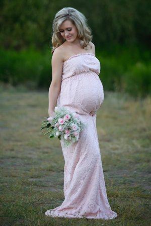 Long Lace Maternity Dress