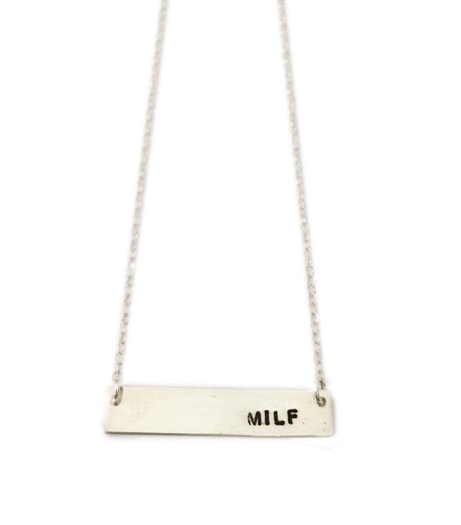Silver Milf Bar Necklace