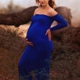 Off the Shoulder Maternity Formal Gowns - Simple Slim Fit Style