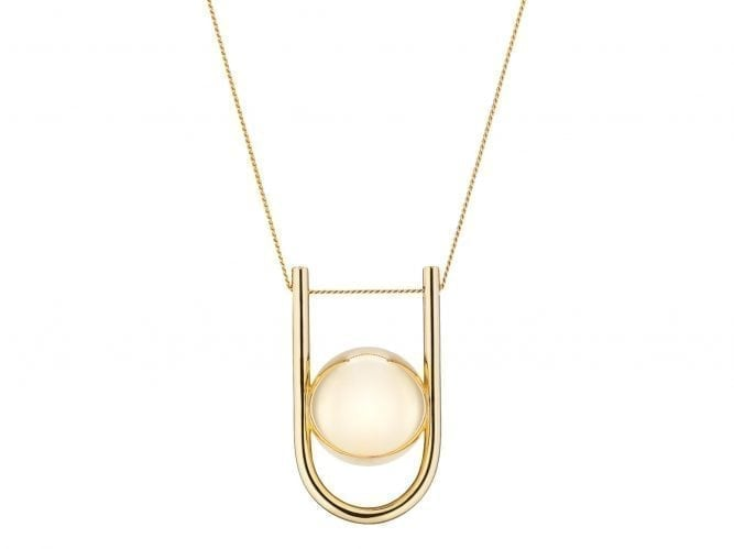 Gold Pregnancy Necklace - U-Shaped Pregnancy Chime Necklace - 18 Carat Gold