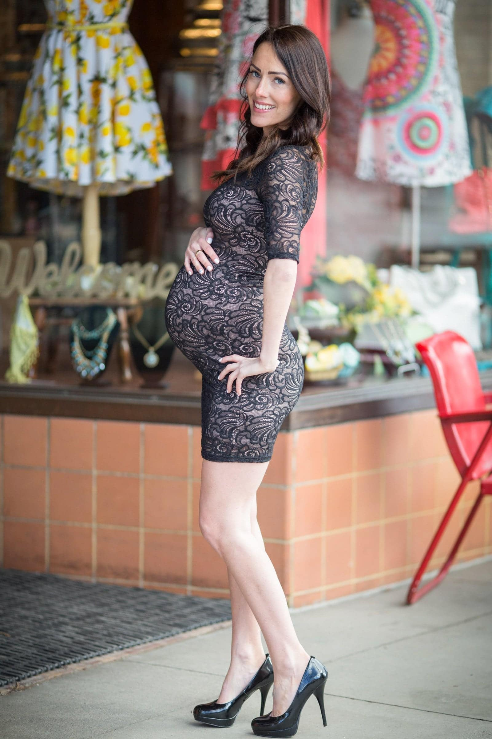 Black Lace Bodycon Maternity Dress
