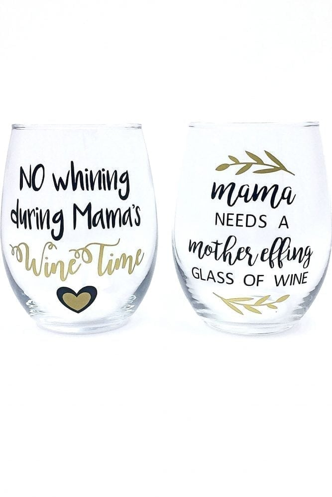 Funny Mom Wine Glasses - Set of 2 Handmade Stemless Glasses