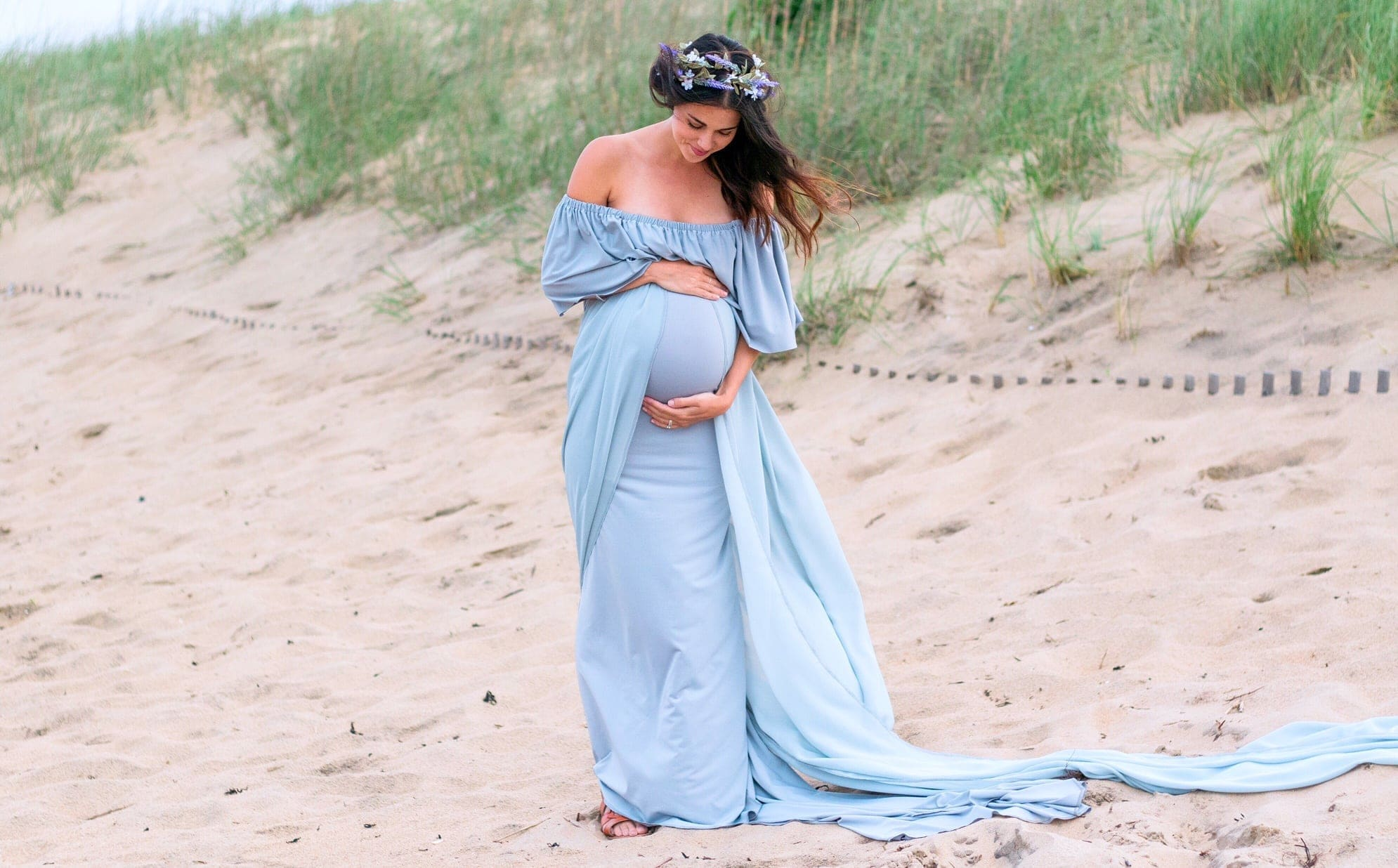 grey maternity gown