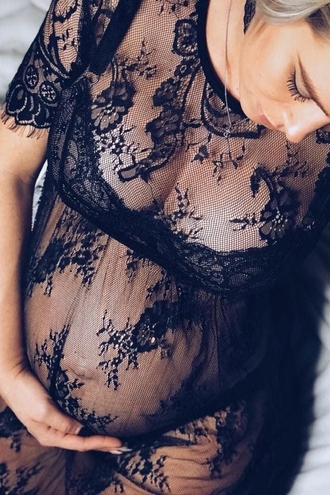 sheer lace maternity gown