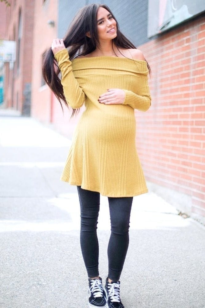 off the shoulder maternity sweater