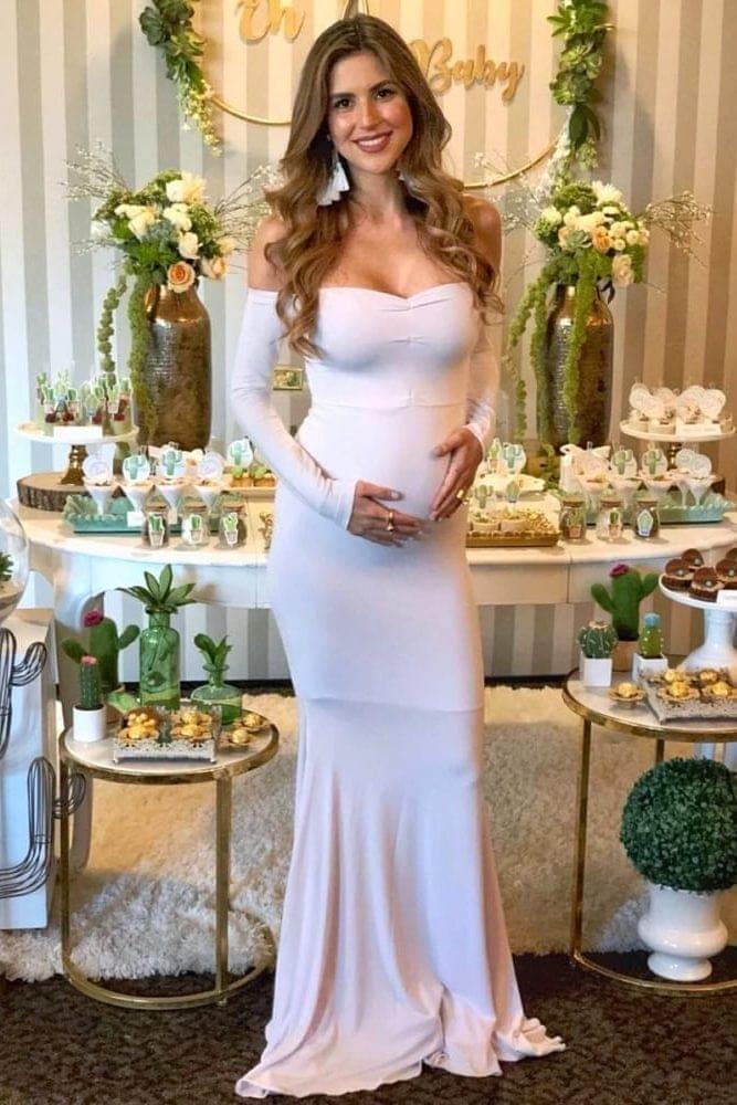 long sleeve baby shower dress