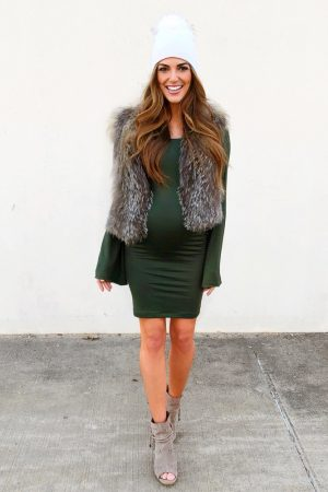 bell sleeve maternity dress