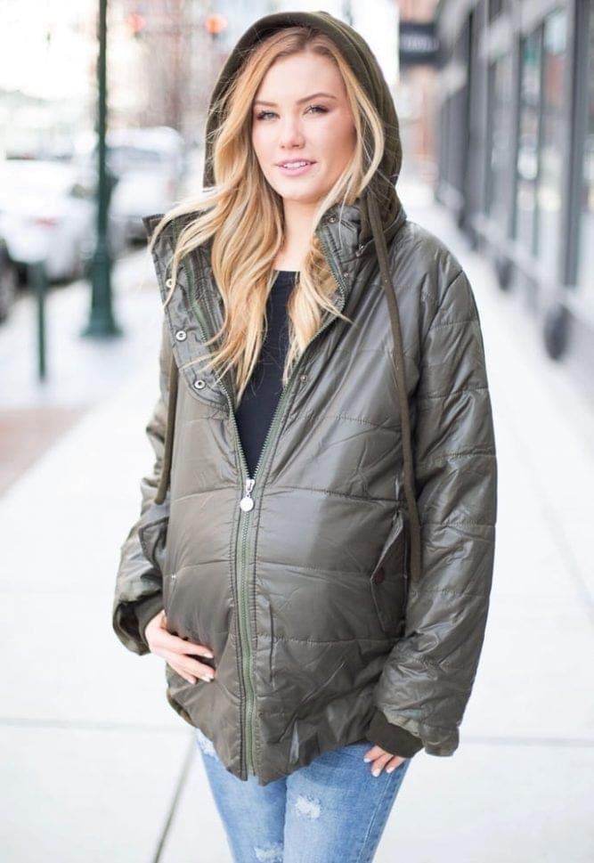 hooded maternity jacket