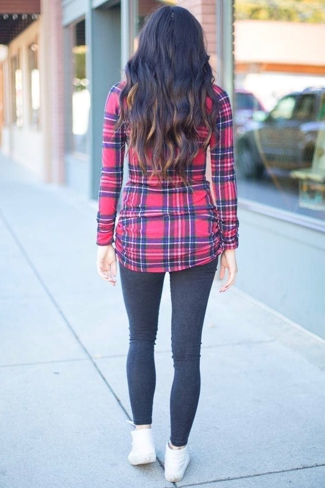 plaid maternity shirt