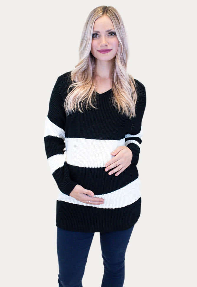 V-Neck Maternity Sweater