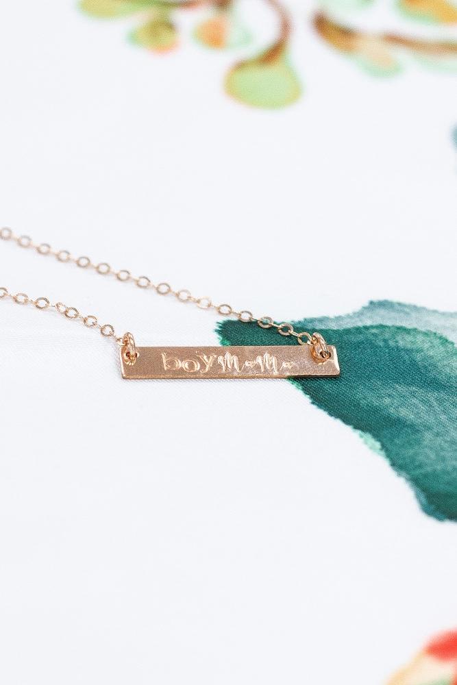 rose gold boy mama necklace