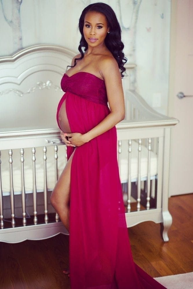 strapless open maternity gown