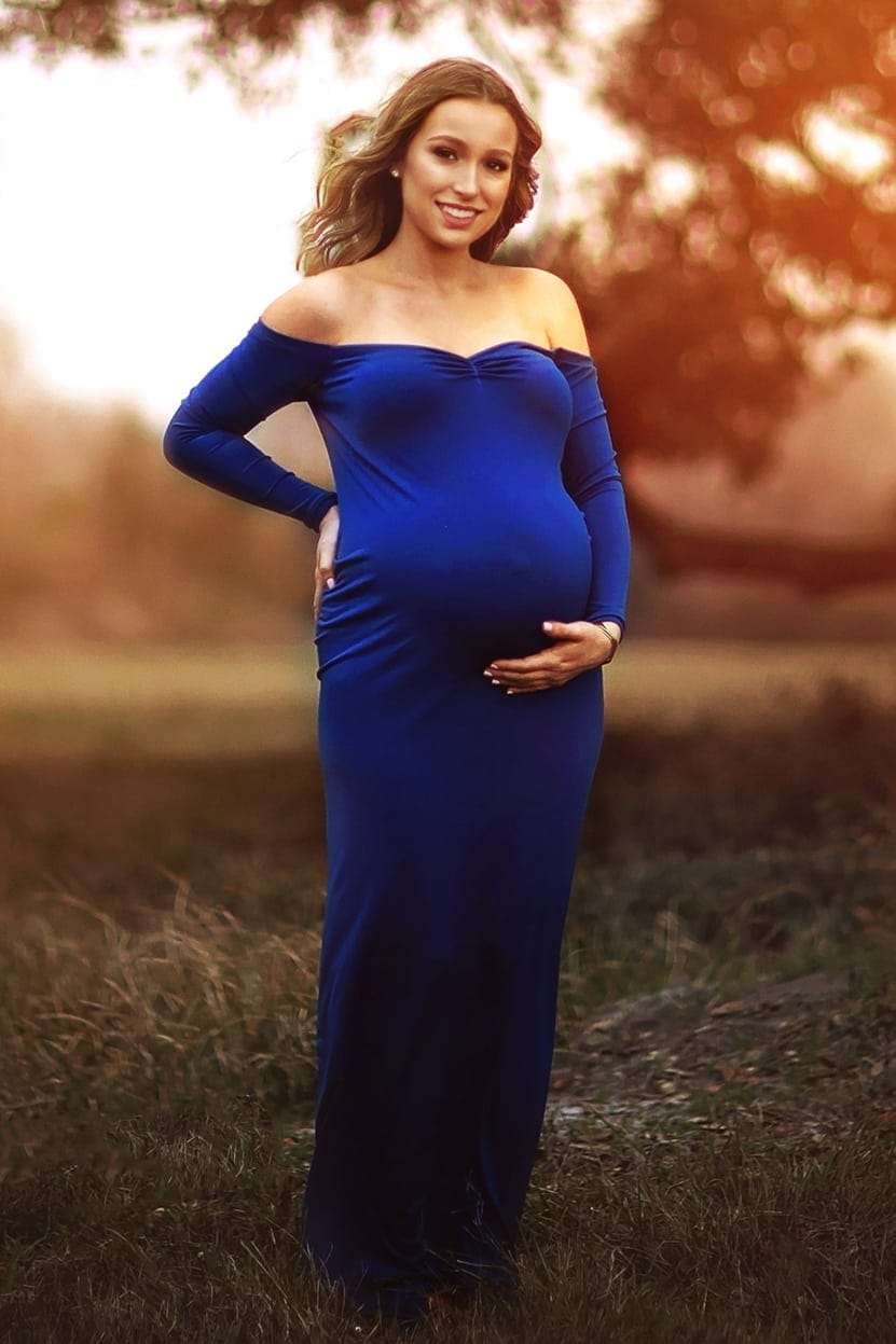 Maternity Formal Gowns - Off The Shoulder Simple Slim Fit Style