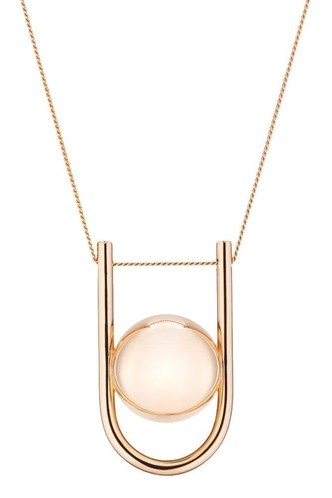 Rose Gold Pregnancy Necklace - U-Shaped Pregnancy Chime Necklace - 18 Rose Gold