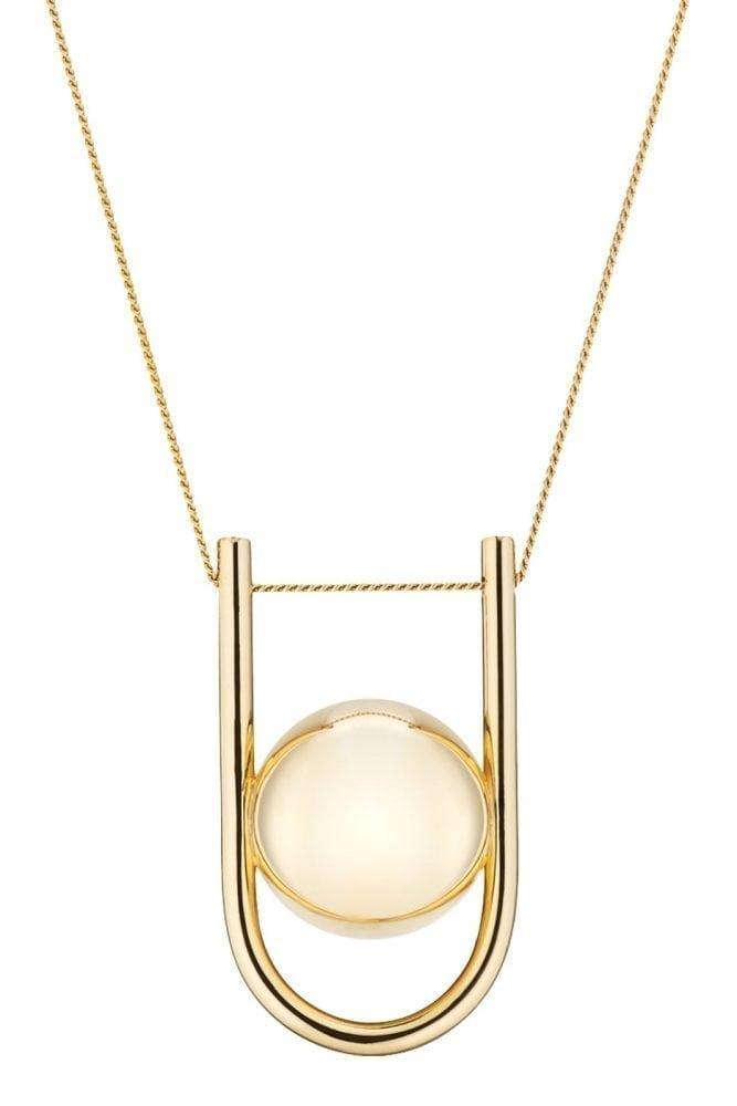 Gold Pregnancy Necklace - U-Shaped Pregnancy Chime Necklace - 18 Carat Gold
