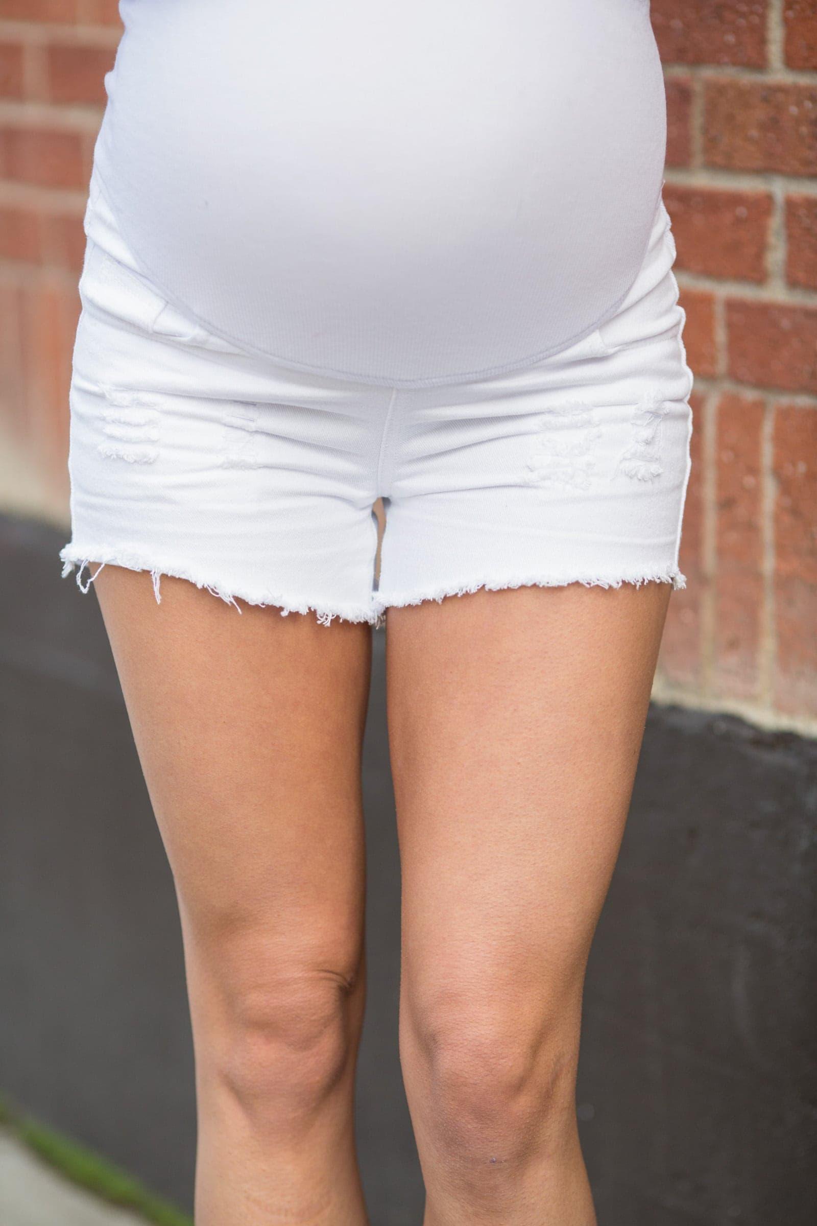 c29f63e59e7ed Cute Maternity Shorts - Not Your Grandma's Shorts - White Cutoffs