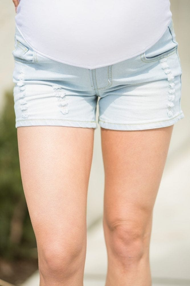 Pregnancy Shorts - Light-Washed 90's Style Shorts