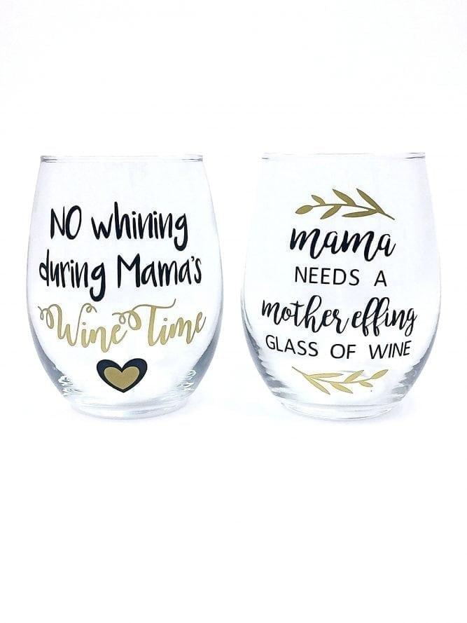 Funny Mom Wine Glasses - Set of 2 Handmade Stemless Glasses