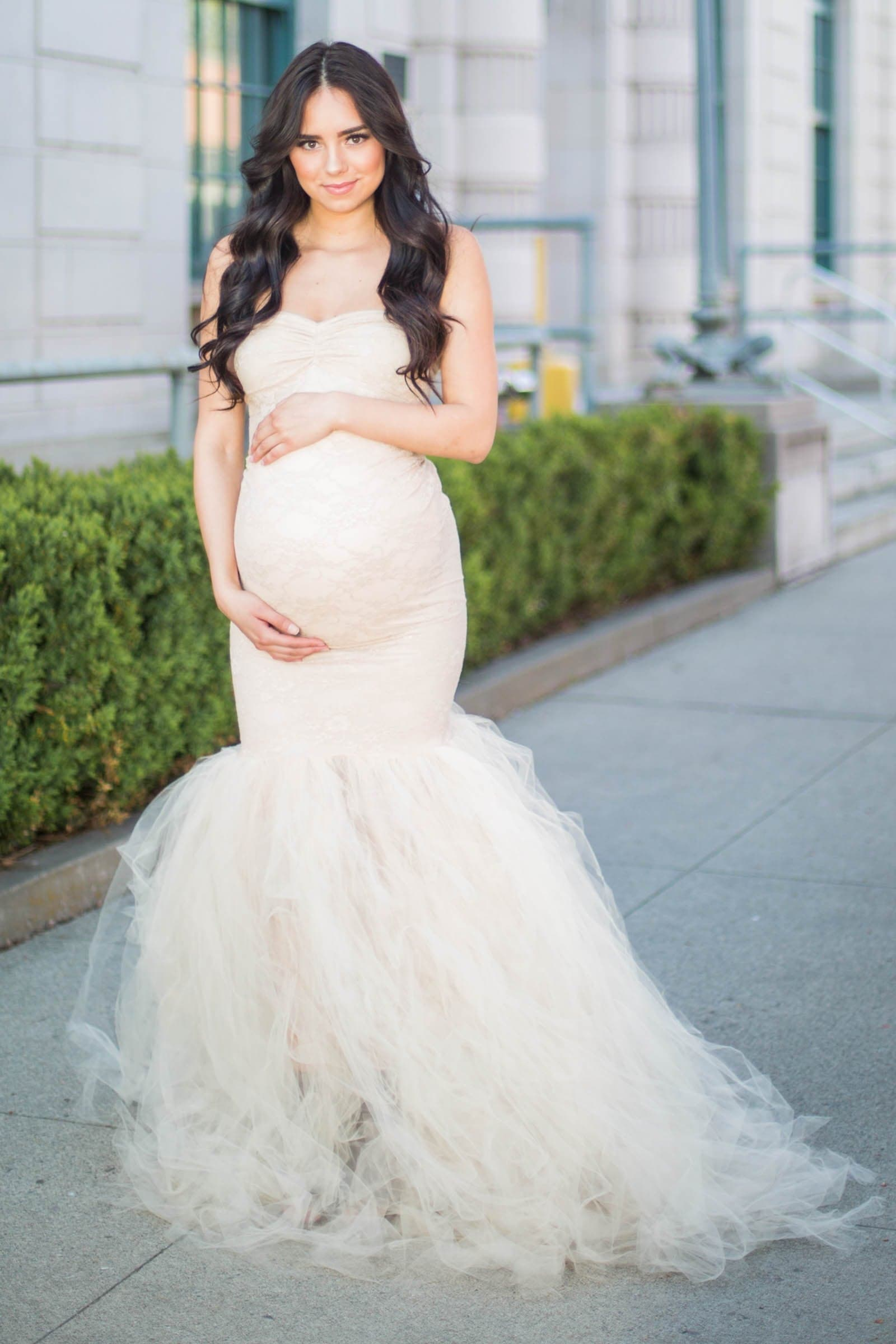 b0c826be99cd9 Maternity Bridal Gown with Tulle Bottom - Sexy Mama Maternity