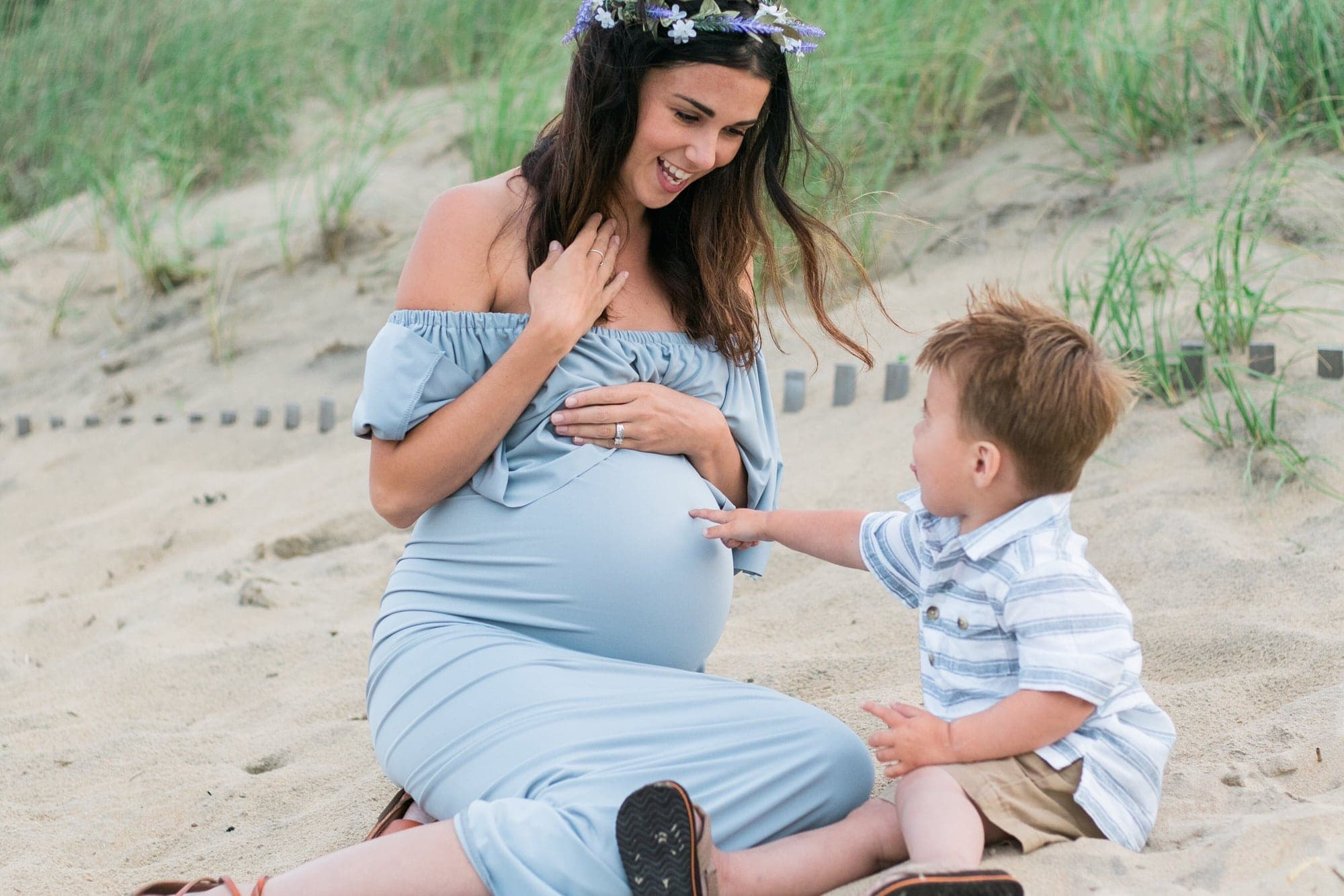 off the shoulder maternity gown