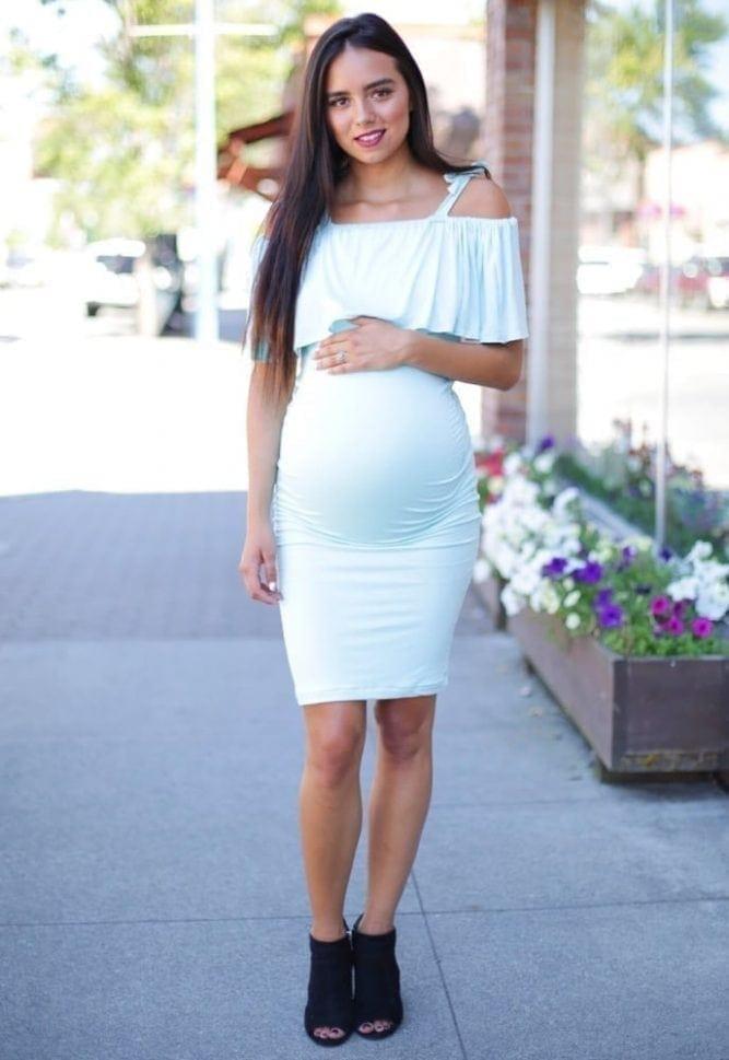 off the shoulder maternity dress