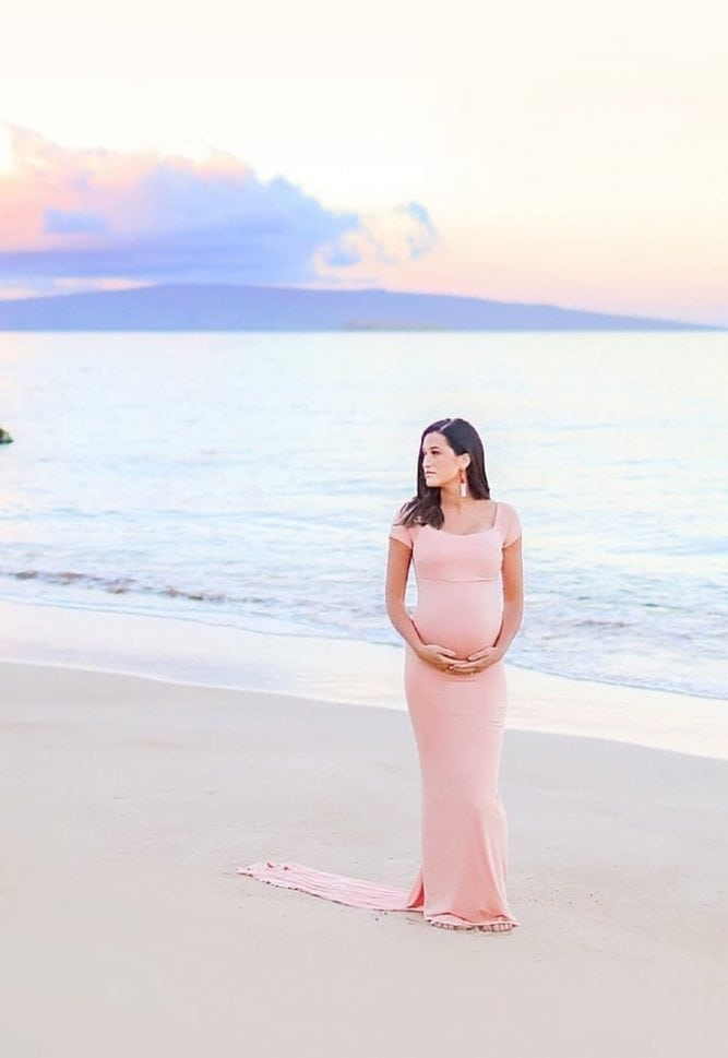 maternity gown with chiffon train