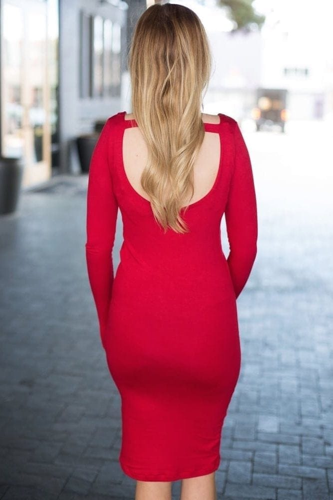 scoop back maternity dress