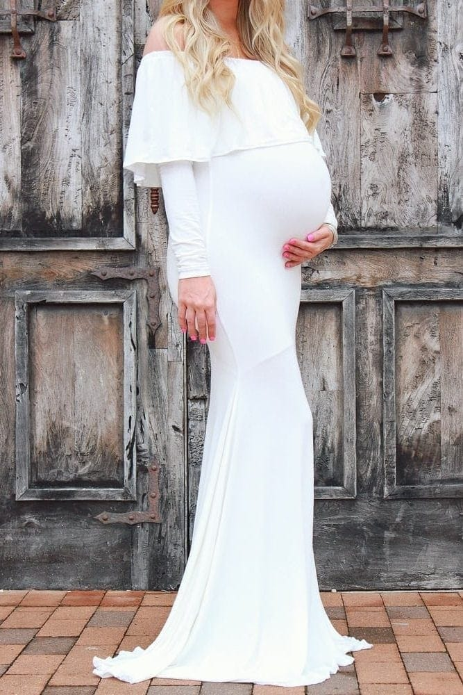 off the shoulder baby shower gown