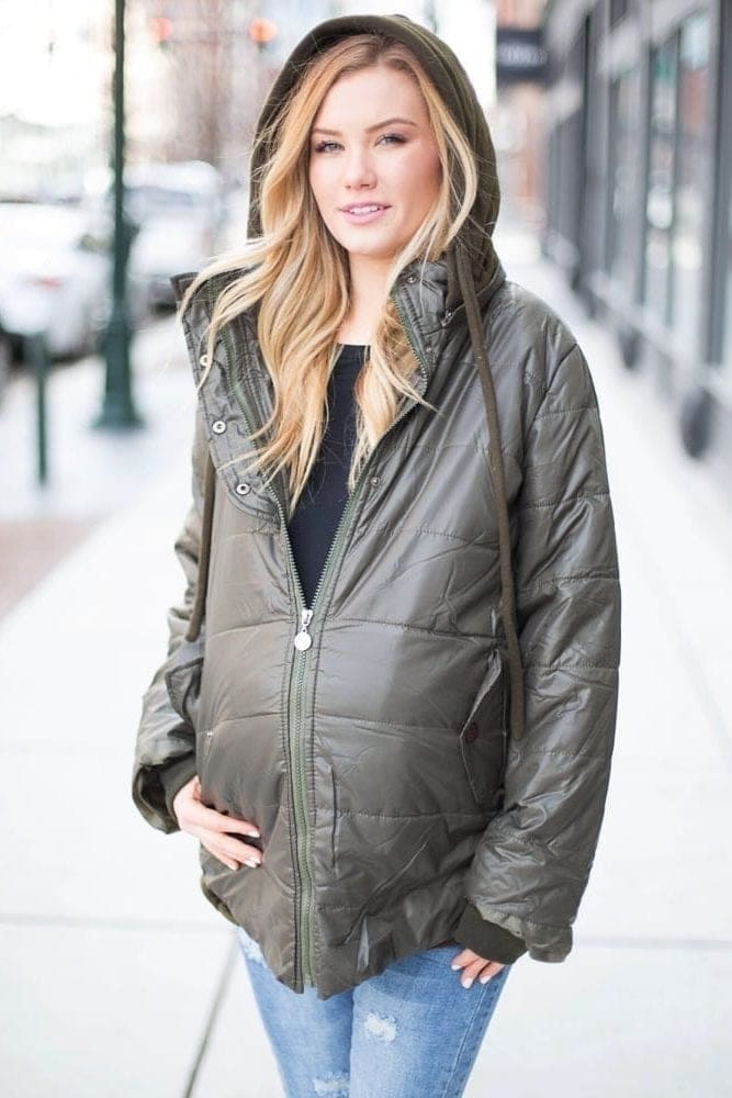 hooded maternity jacket