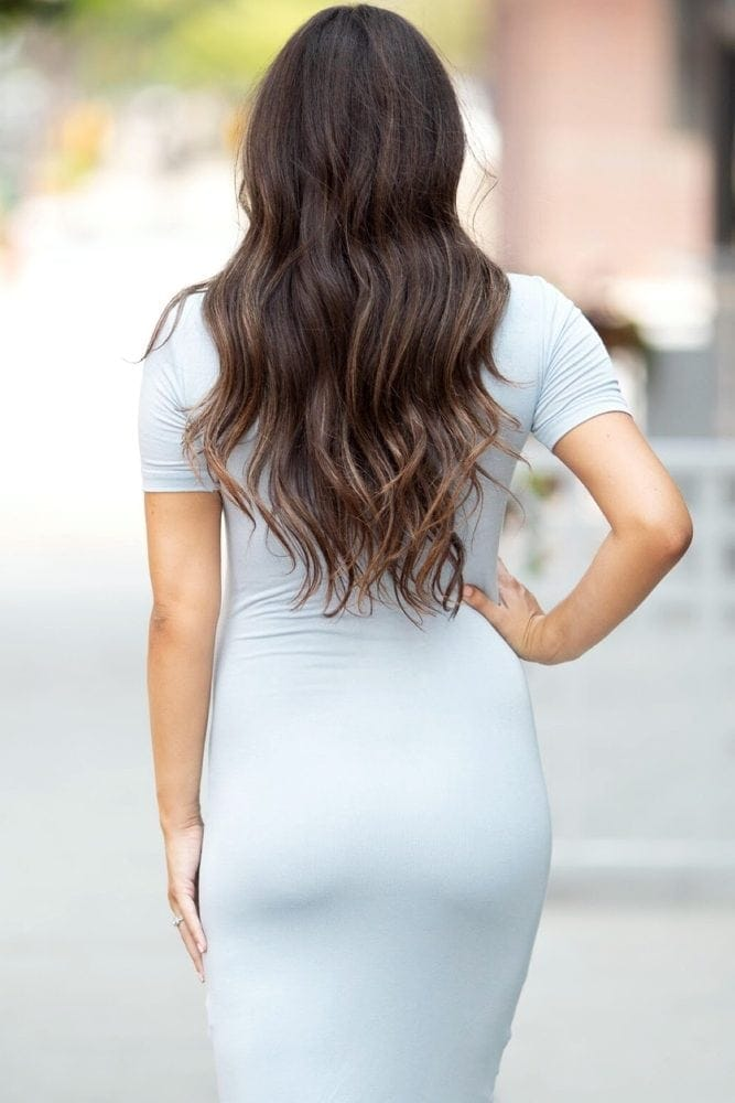 knee length maternity gown