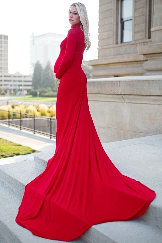 turtleneck maternity gown