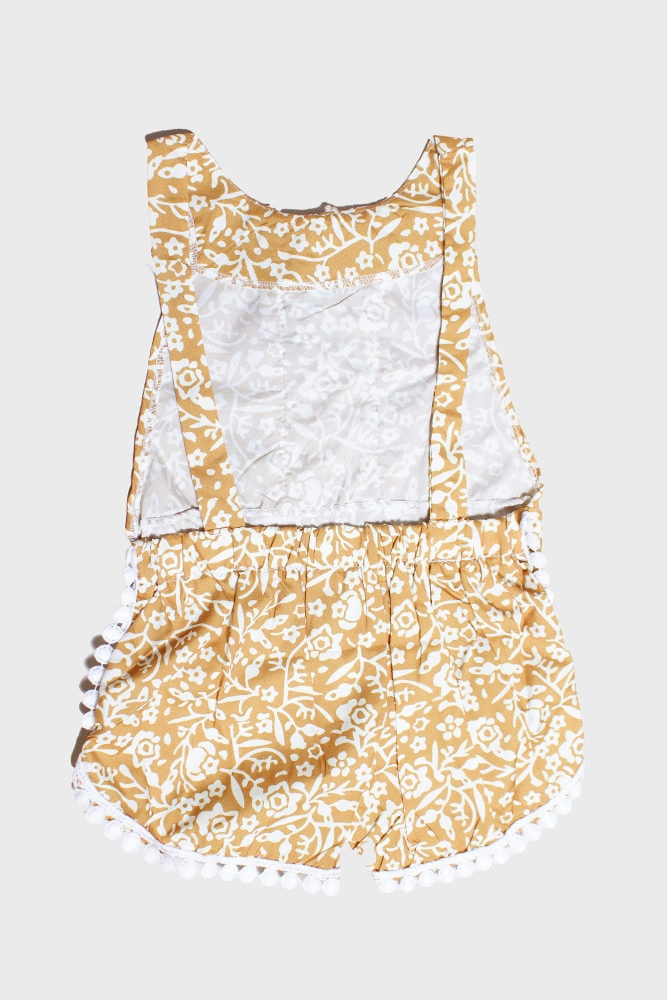 mustard floral baby romper