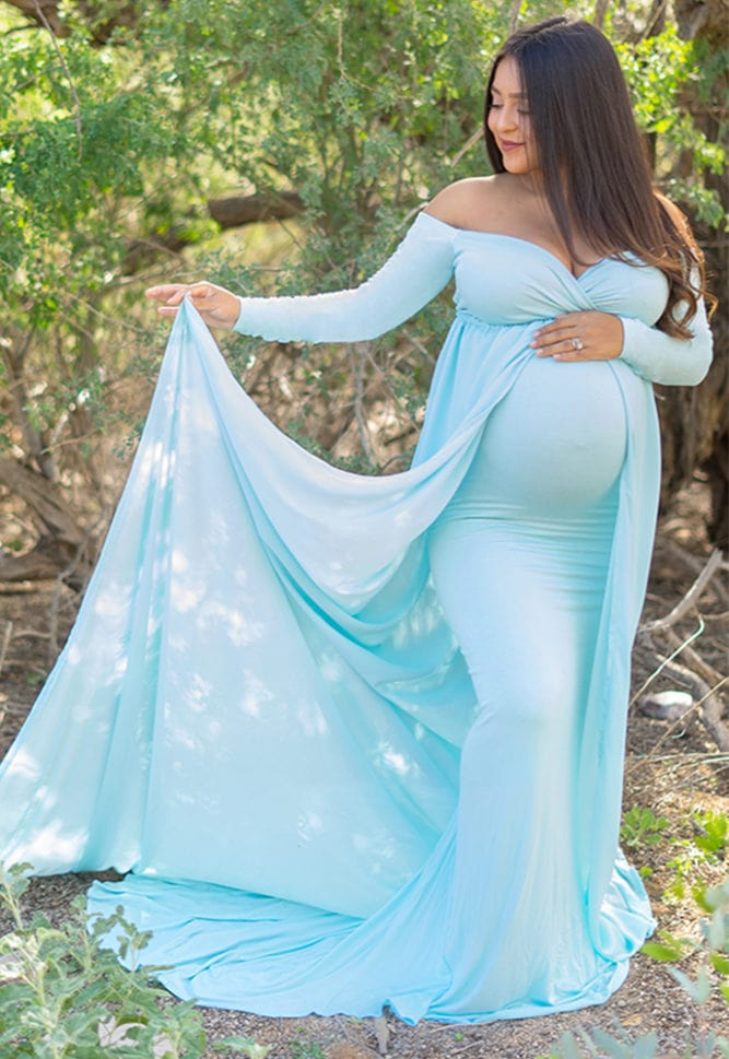 long sleeve maternity gown with chiffon train