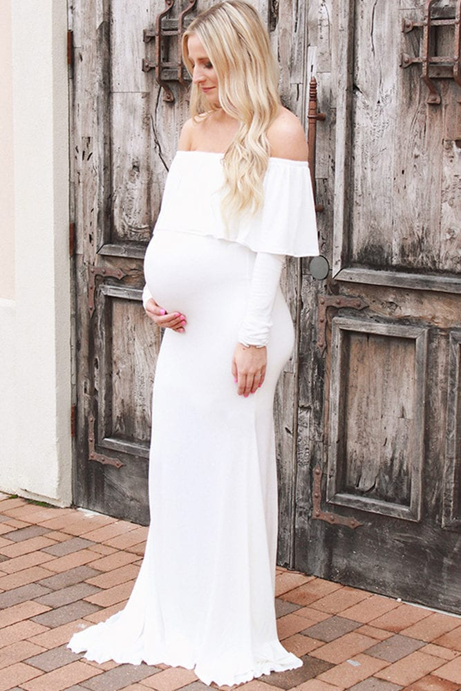 off the shoulder maternity wedding dress