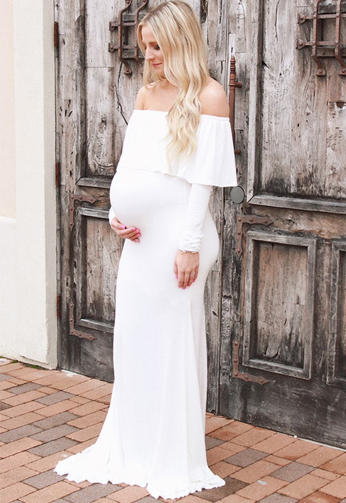 Off The Shoulder Maternity Wedding Dress Sexy Mama Maternity