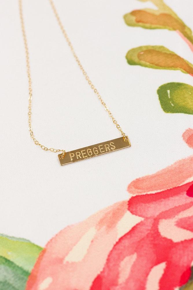 gold preggers bar necklace