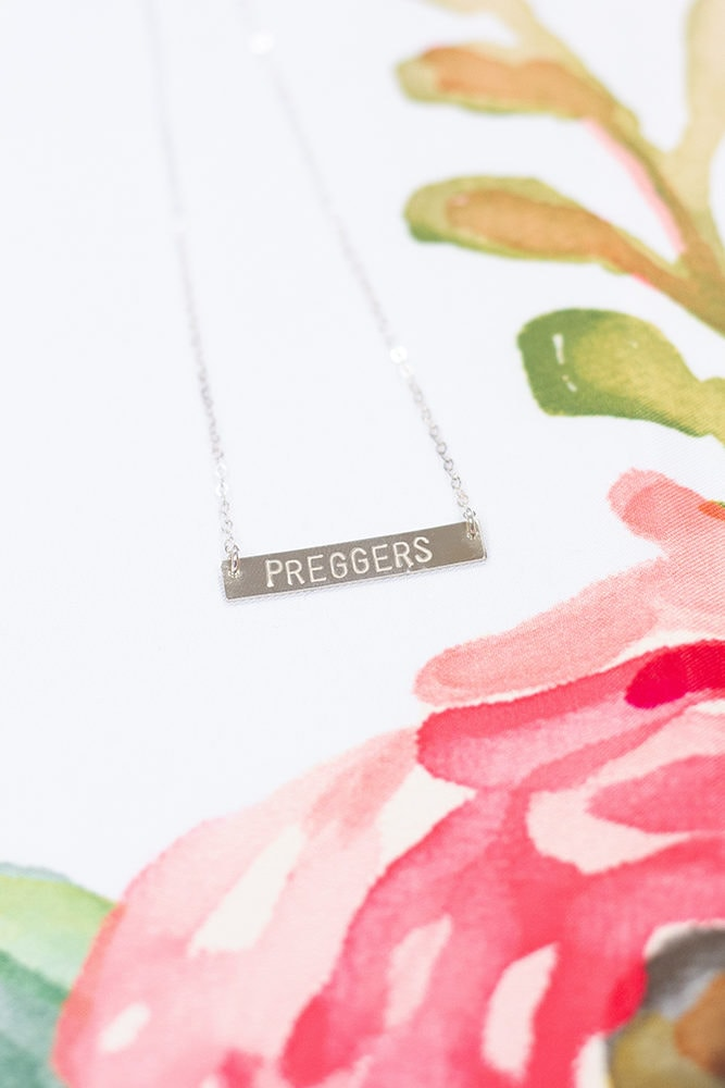 silver preggers bar necklace