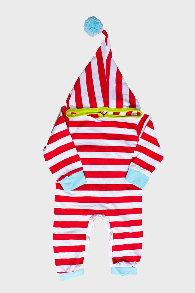 pompom hood striped baby onesie