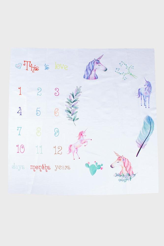 unicorn baby milestone blanket