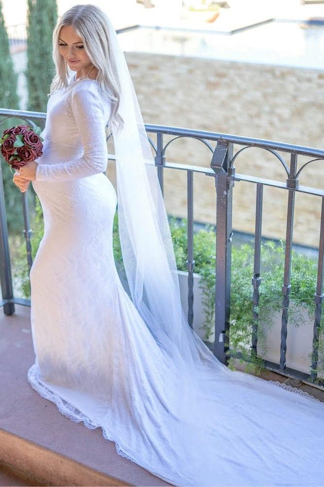 Pregnant Wedding Dress.Lace Boat Neck Wedding Dress