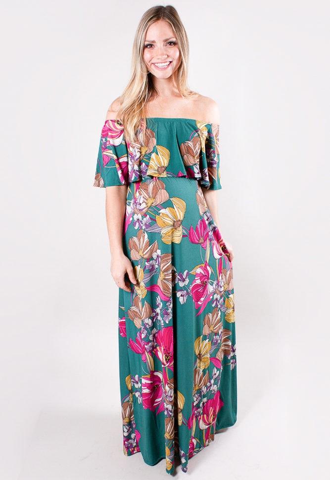 off the shoulder maternity maxi dress
