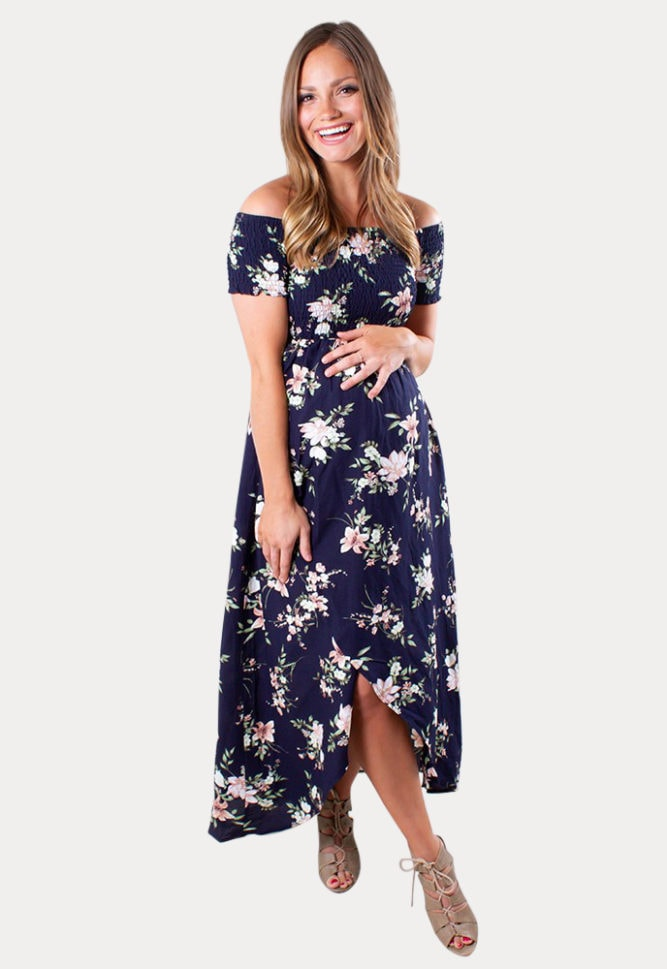 off the shoulder maternity wrap dress