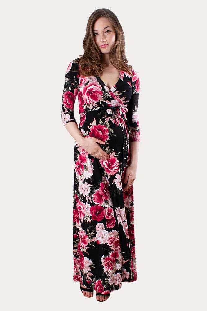 floral maternity dress with tie