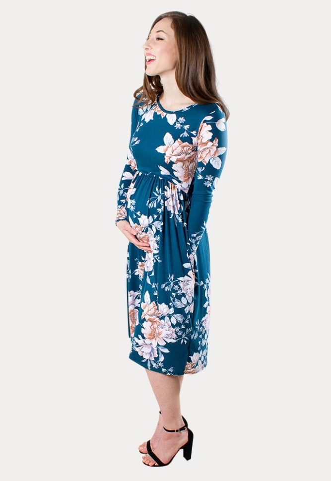 teal floral maternity dress