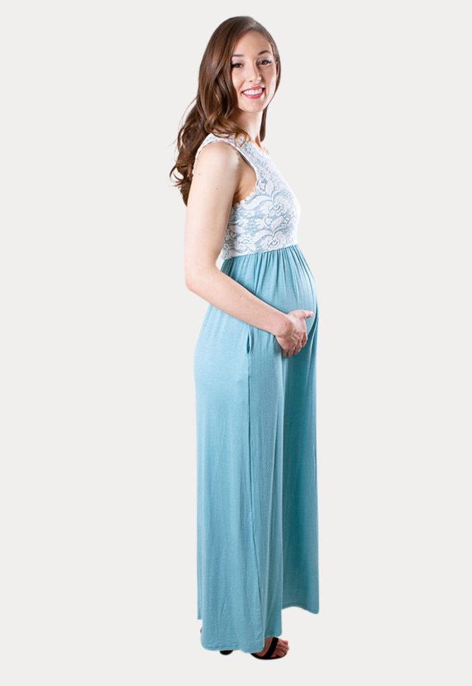 blue lace maternity maxi dress