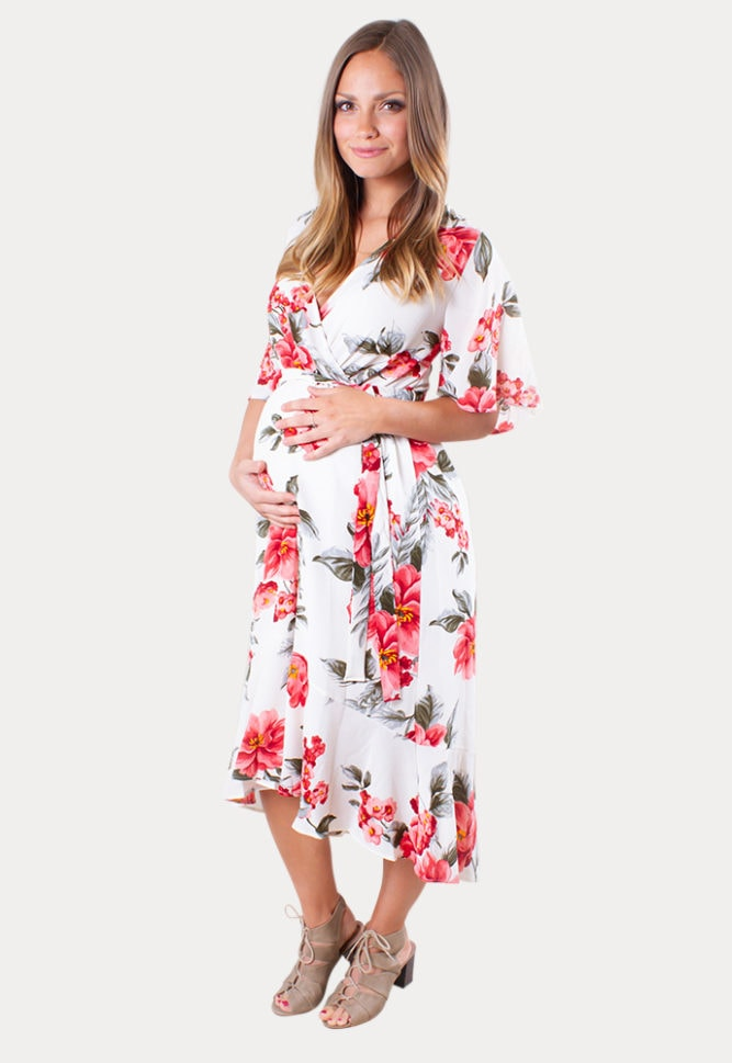 floral maternity wrap dress