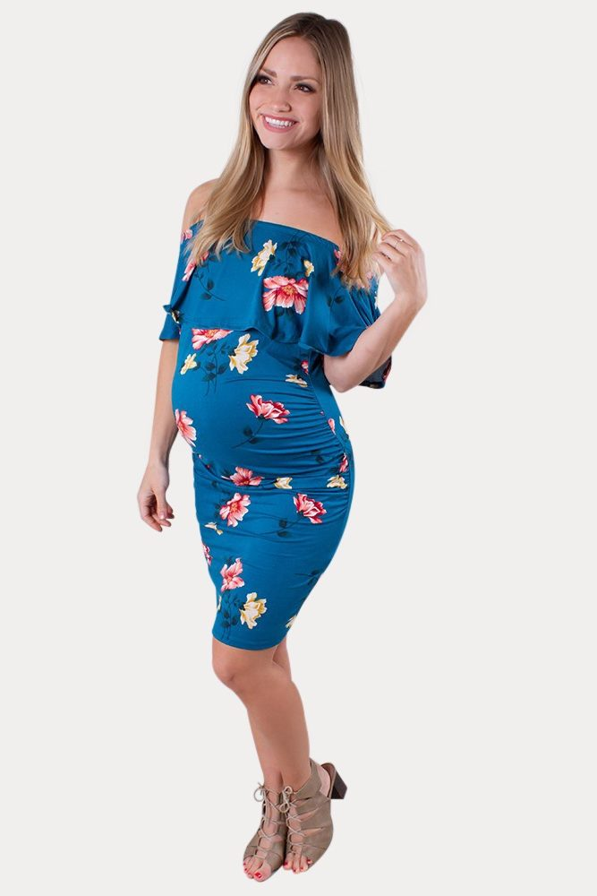 blue floral maternity dress