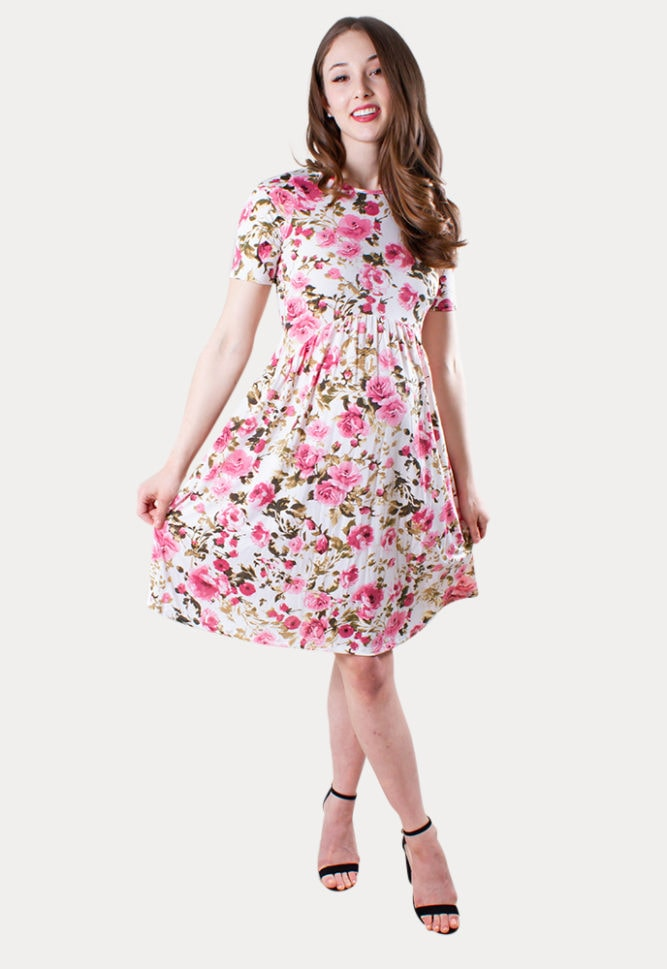 pink floral maternity dress